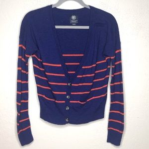 American Eagle Blue and Orange striped cardigan